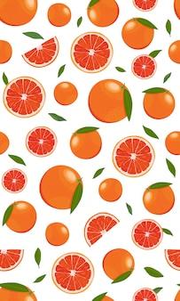 シームレスパターンオレンジフルーツの葉を持つ