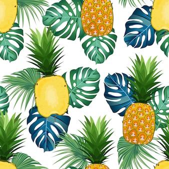 Бесшовный узор ананас с тропическими листьями