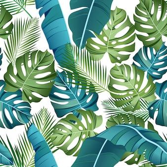 Бесшовный фон с тропическими листьями