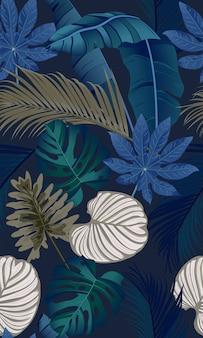 Роскошный бесшовный узор с тропическими листьями