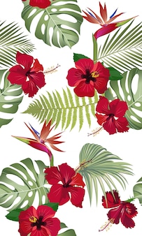 赤いハイビスカスの花と楽園の鳥と熱帯の葉のシームレスパターン