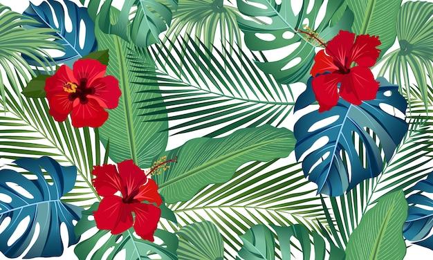 赤いハイビスカスの花と熱帯の葉のシームレスなベクターパターン