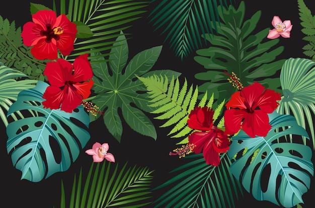Бесшовные векторные шаблон тропических листьев с красным цветком гибискуса