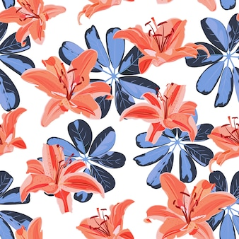Цветок лилии бесшовный фон