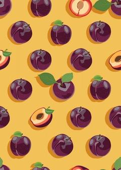 梅の果実とスライスのシームレスパターン