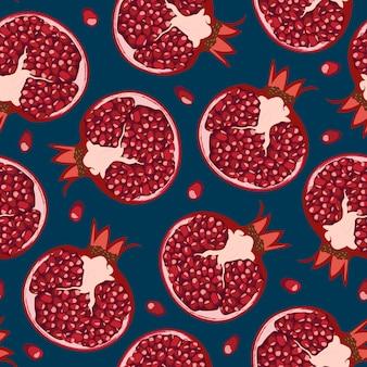 シームレスパターンザクロの果実と種子。