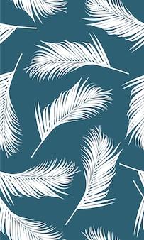 白いヤシの葉とのシームレスなパターン