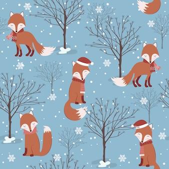 フォックスとクリスマスのシームレスパターン