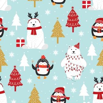 Рождество бесшовные модели с белым медведем