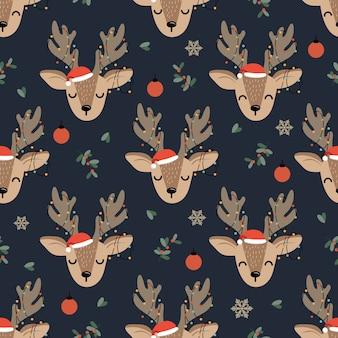 Рождественский фон с оленями
