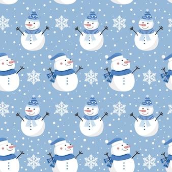 クリスマス雪だるまのシームレスパターン