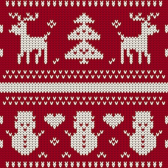 クリスマスのシームレスなニットパターン背景