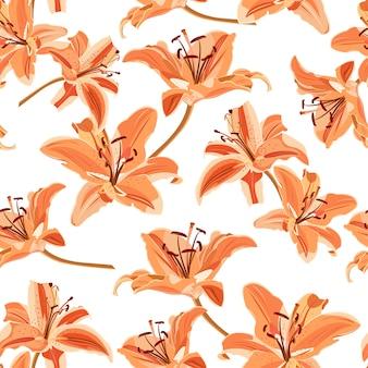 Цветок лилии бесшовный узор на белом фоне