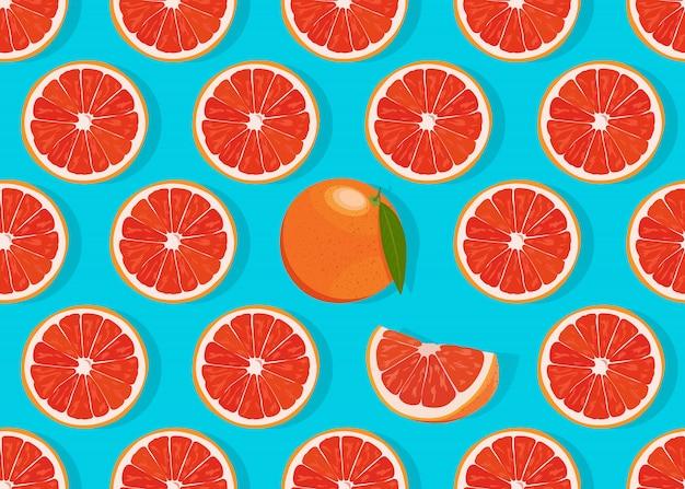 オレンジ色の果物のスライスのシームレスパターン