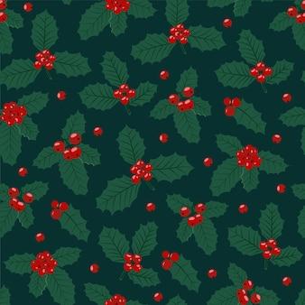 Рождественский фон с ягодами падуба