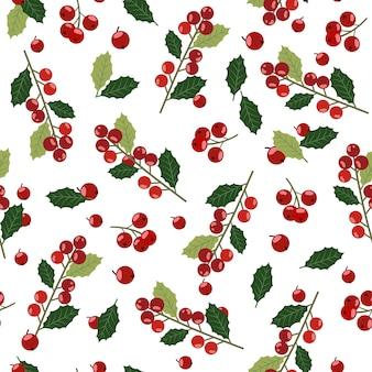 クリスマスヒイラギの果実の背景とのシームレスなパターン