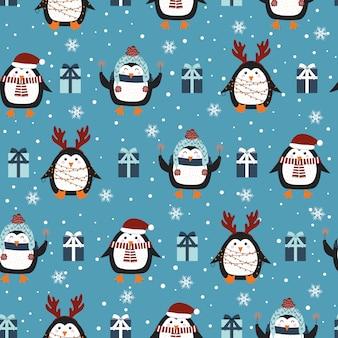 ペンギンの背景を持つクリスマスのシームレスパターン