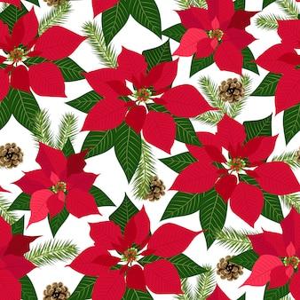 ポインセチア植物の背景を持つクリスマスのシームレスパターン