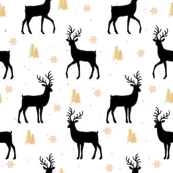 Рождество бесшовные модели с фоном оленей