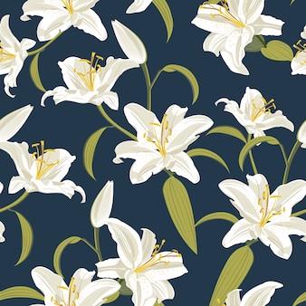 青色の背景にユリの花のシームレスパターン