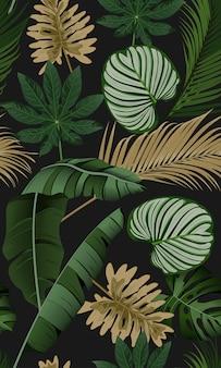 熱帯の葉で豪華なシームレスパターン