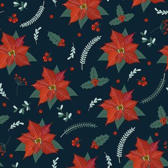 Рождественский фон с пуансеттия