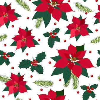 ポインセチア植物とクリスマスのシームレスパターン