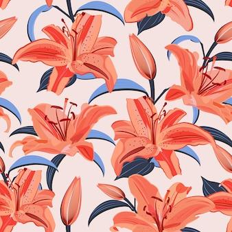 Цветок лилии бесшовный узор на розовом