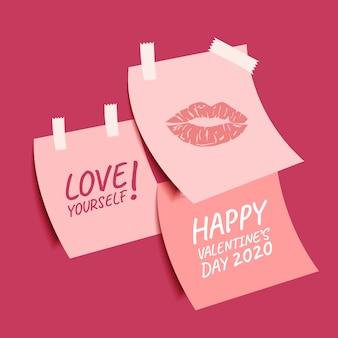 かわいい付箋紙の幸せなバレンタインデーコレクション