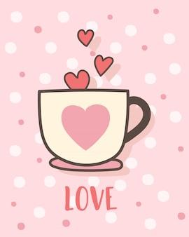 С днем святого валентина с кофейной чашкой любви