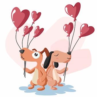 風船でカップル犬の幸せなバレンタインデー