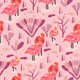 Бесшовный фон с фламинго.