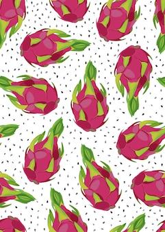 ドラゴンフルーツのシームレスパターン
