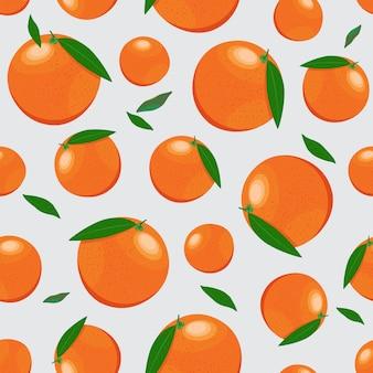 オレンジ色の果物のシームレスパターン