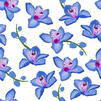 青い蘭花柄シームレス