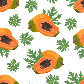 パパイヤフルーツのシームレスパターン