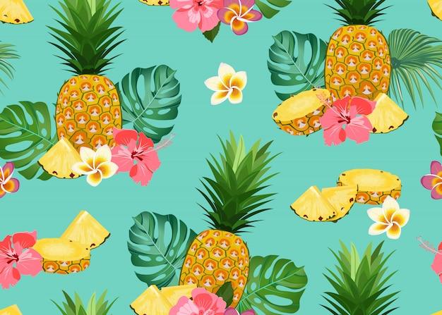 花とパイナップルのシームレスパターン