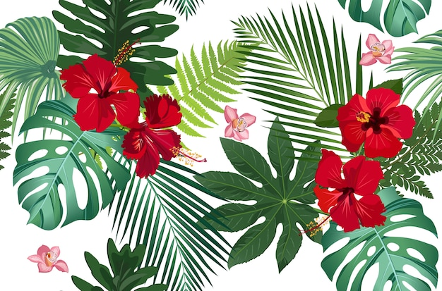 シームレスパターン熱帯の葉と花