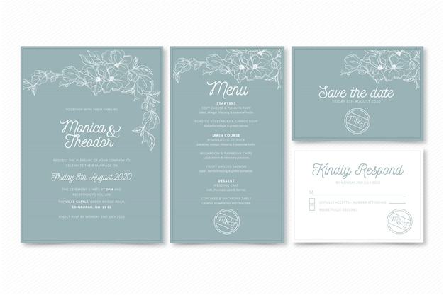 エレガントな結婚式の招待状のテンプレート