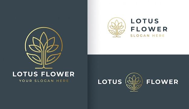 モノラインの蓮の花のロゴデザイン