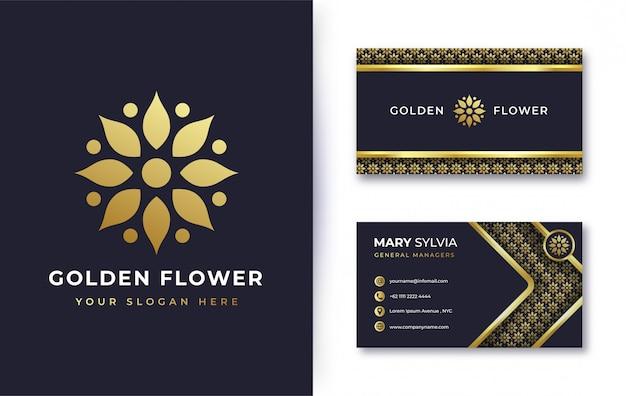 Абстрактный дизайн логотипа золотой цветок с визитной карточкой