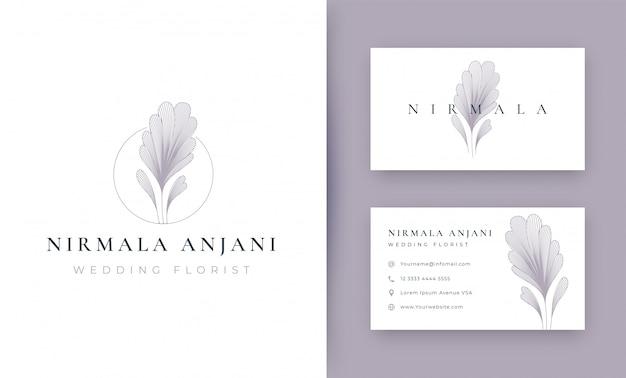 Цветочный минимальный дизайн логотипа с визитной карточкой