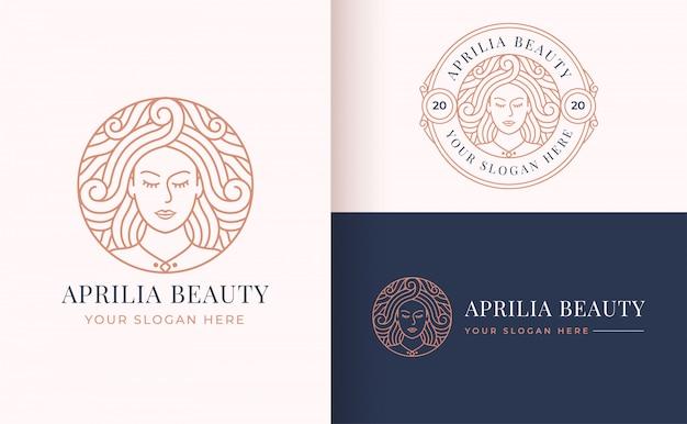 サークルバッジラインアート女性ロゴデザイン