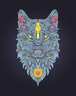 オオカミのイラストデザイン