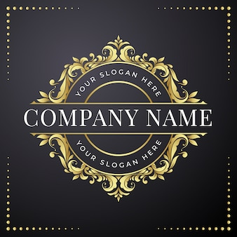 Золотой цветочный шаблон дизайна логотипа