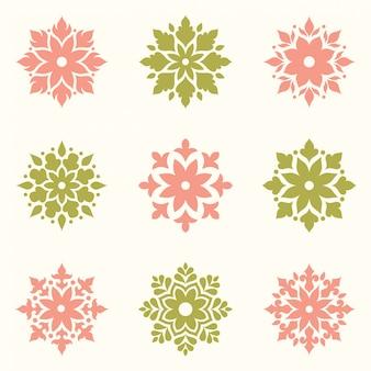 Набор абстрактного логотипа цветы дизайн