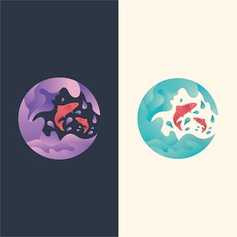 ロゴの図、魚が波にジャンプ