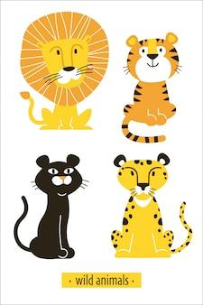 Иллюстрация с дикими африканскими кошками лев, тигр, пантера, леопард.