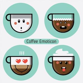 コーヒーカップの絵文字のベクトルを設定します。異なる表現を持つコレクション。フラットなデザイン。