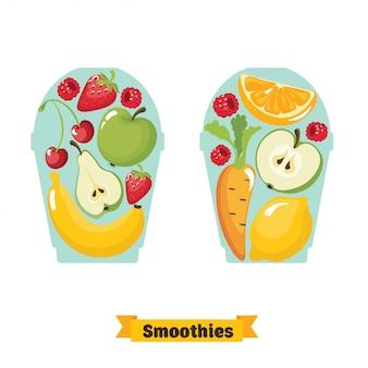 漫画のスムージー。オレンジ、イチゴ、ベリー、バナナ、リンゴ、ニンジン、イチゴ、チェリー、レモンのスムージー。オーガニックフルーツシェイクスムージー。